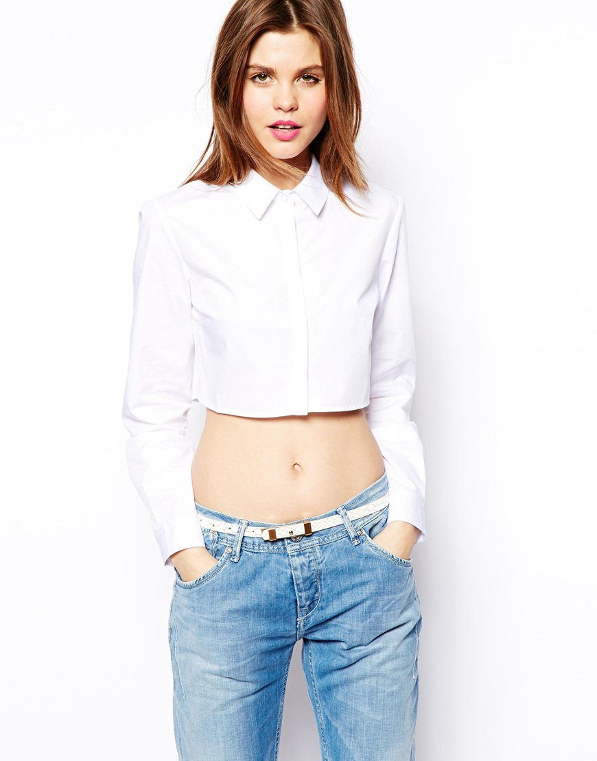 Asos Crop Shirt In White Lyst
