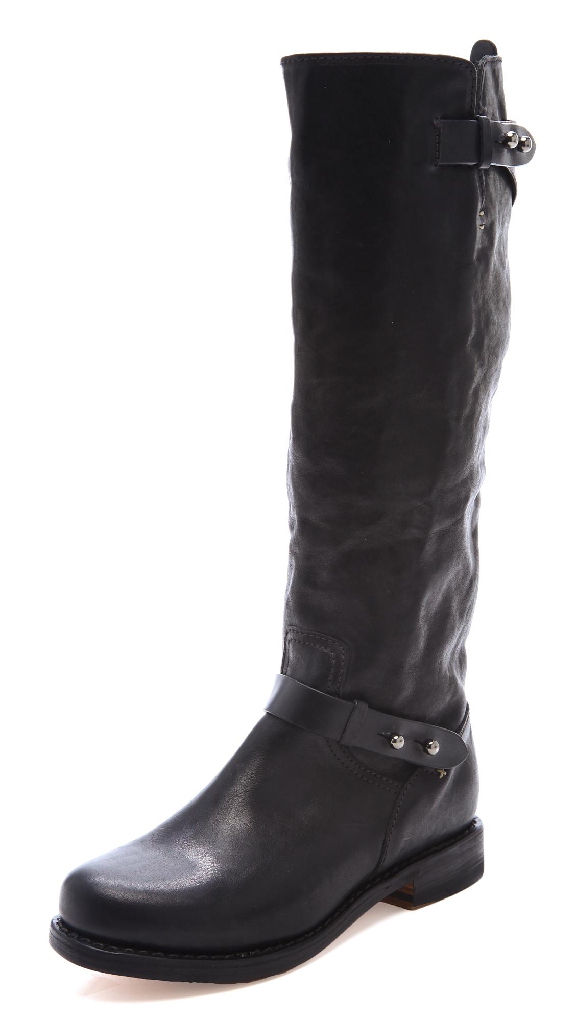 Lyst Rag Amp Bone Knee High Moto Boots In Black