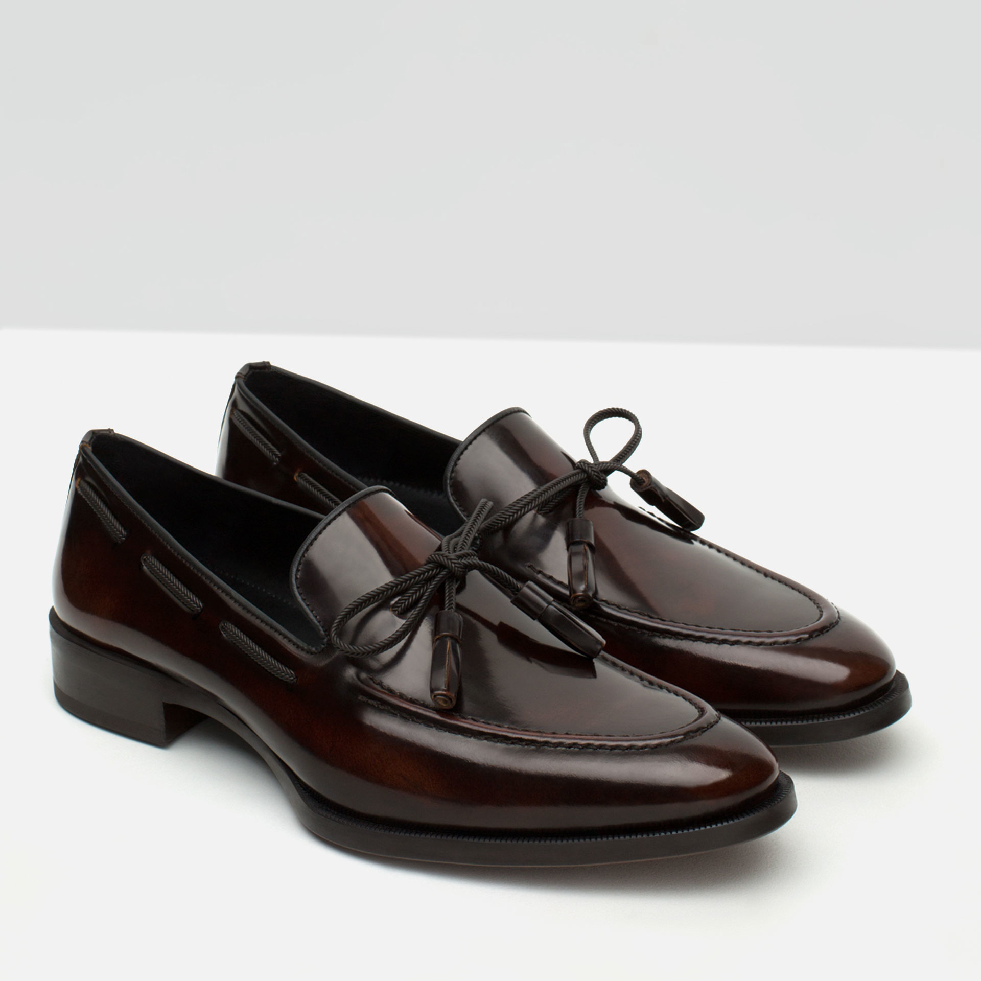 Zara Antik Finish Leather Loafers in Black for Men | Lyst