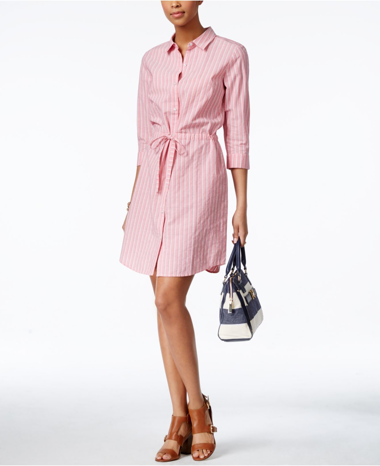 d6ee3eb3ae1 Lyst - Tommy Hilfiger Striped Belted Shirtdress in Red