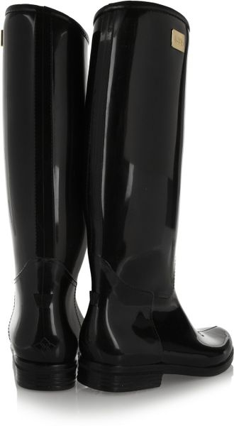 Dav Ashley Long Patent Pvc Rain Boots In Black Lyst