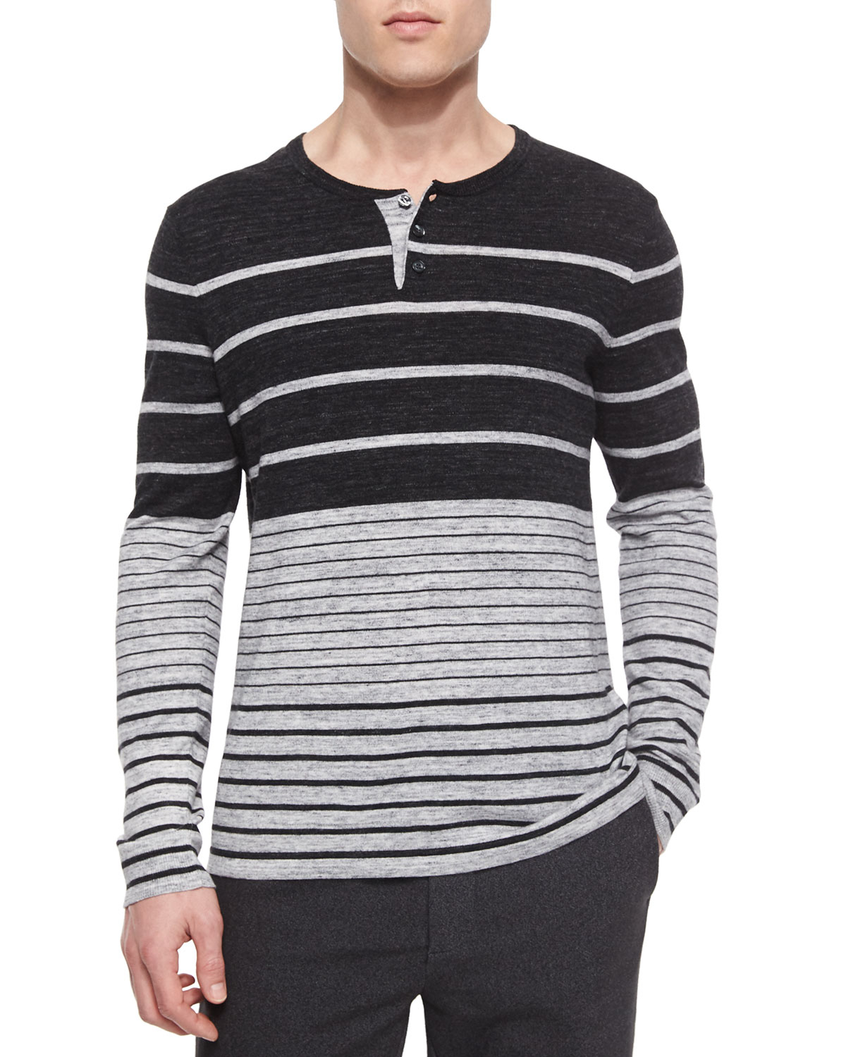Vince striped long sleeve henley shirt in black for men for Black long sleeve henley shirt