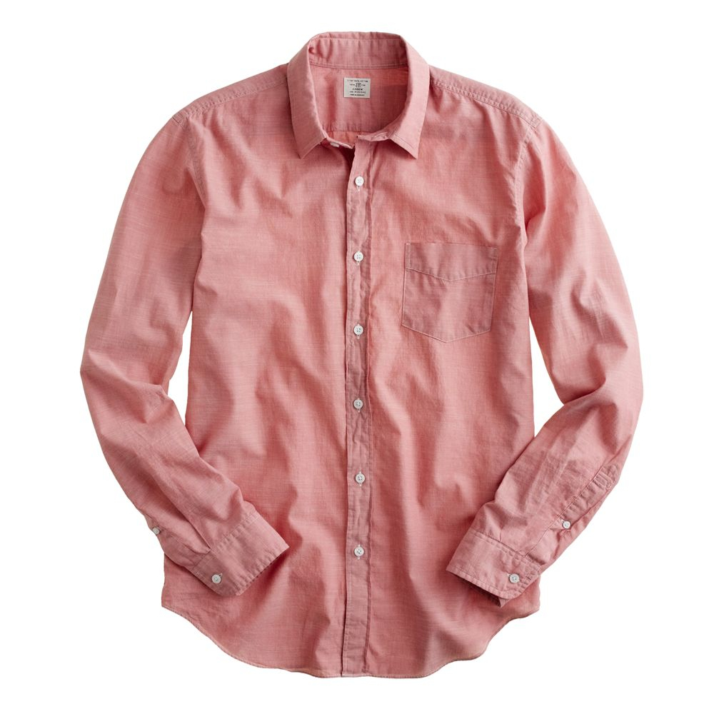 Red chambray shirt men