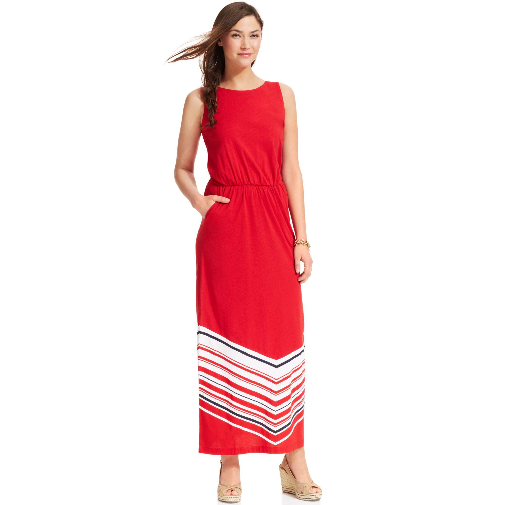 Lyst - Tommy Hilfiger Sleeveless Chevronprint Maxi Dress in Red