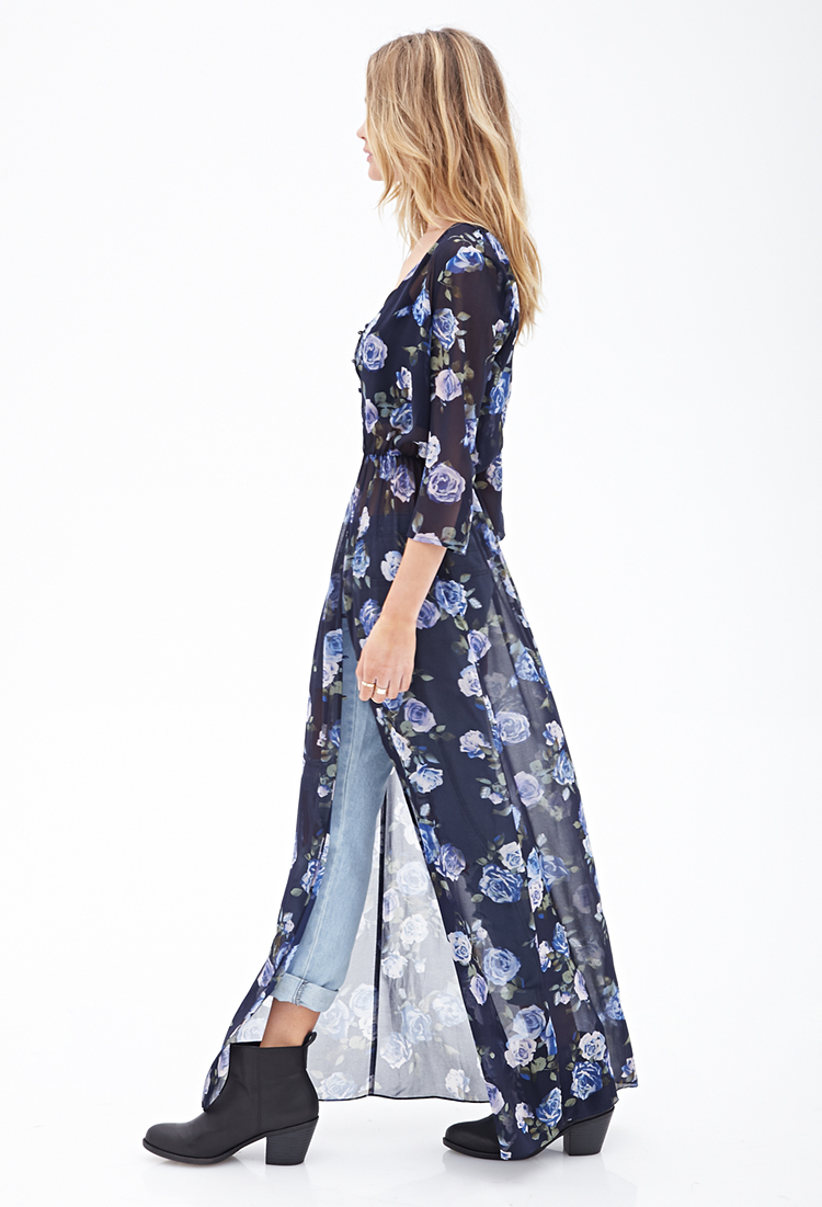 Lyst Forever 21 Floral Kimono Maxi Dress In Blue