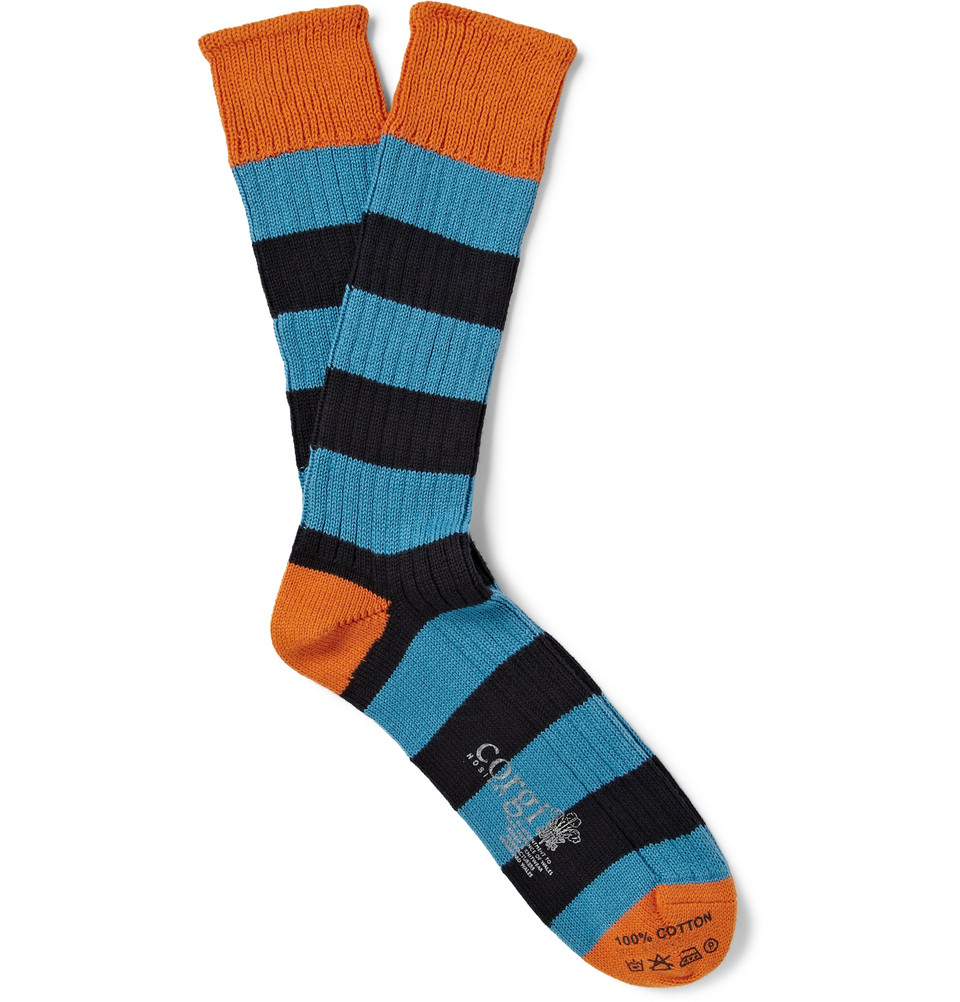 Corgi Striped Knitted Cotton Socks in Blue for Men Lyst