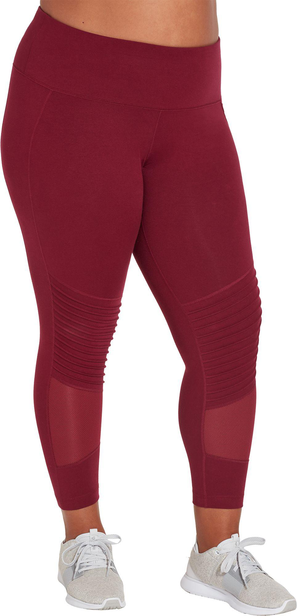 ef69690432870 Reebok Plus Size Stretch Cotton Moto Tights in Red - Lyst