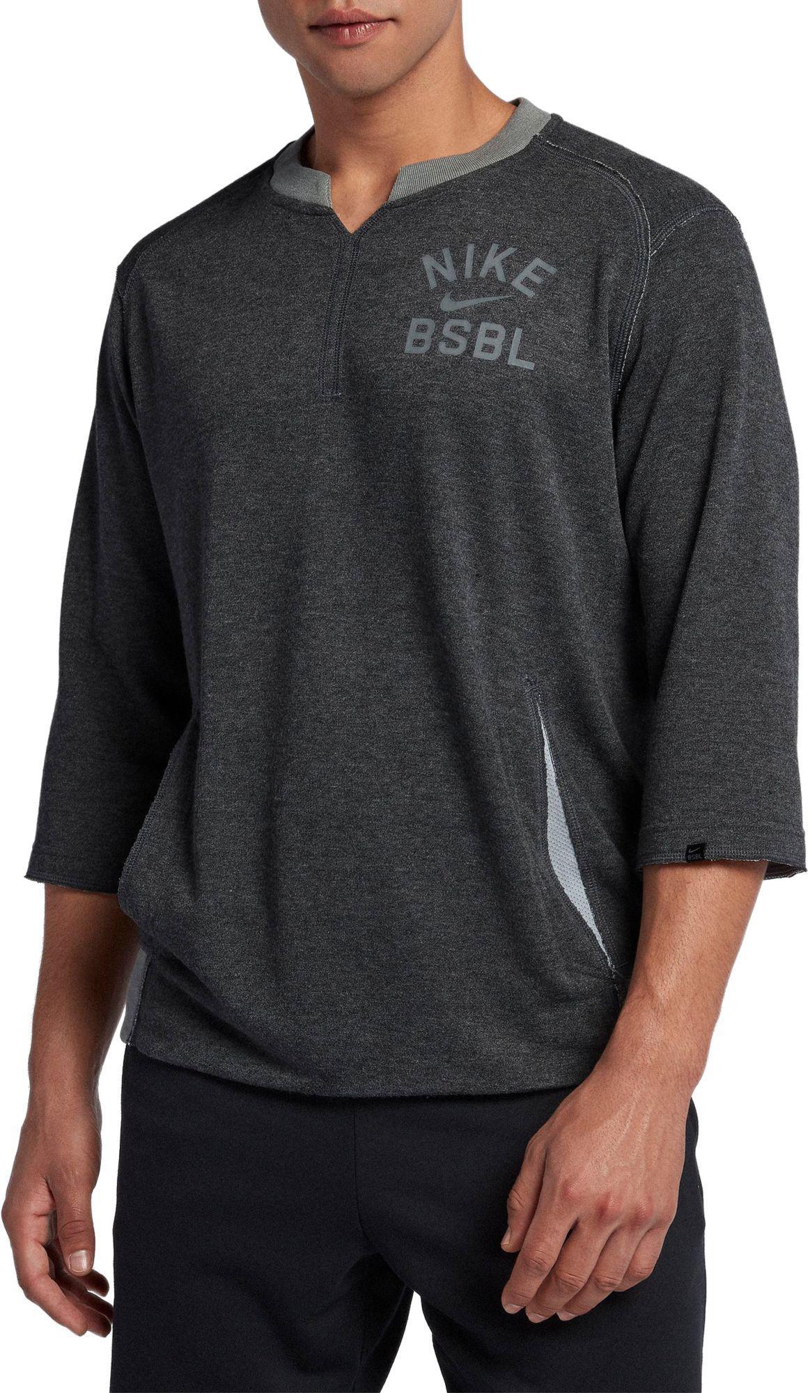 5fd40888eba1b Nike - Gray 3 4 Fleece Crew Flux Baseball Shirt for Men - Lyst. View  fullscreen
