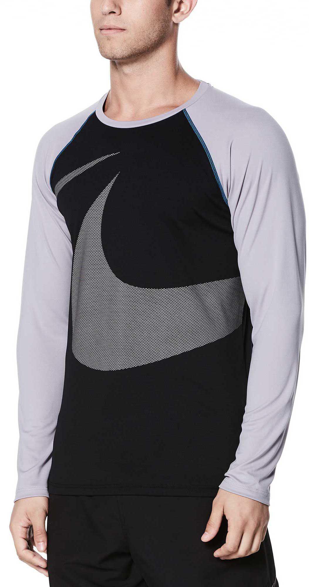 70fec2a5 Lyst - Nike Macro Swoosh Long Sleeve Hydro Rash Guard in Black for Men