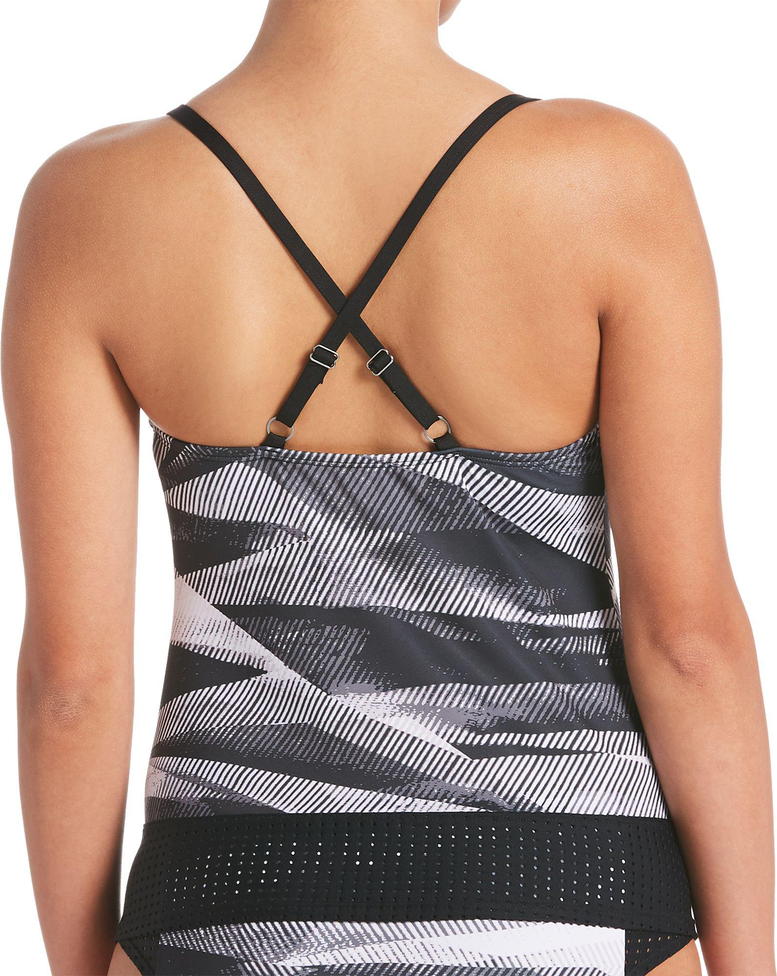 b2e6faa9ca6 Lyst - Nike Lineup Crossback Tankini Swim Top in Black