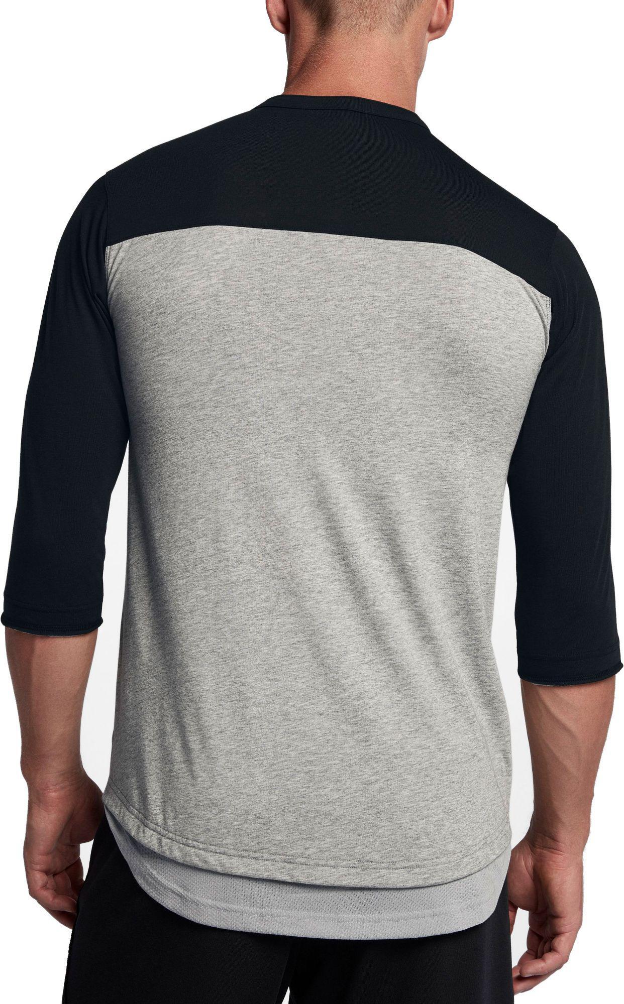 ef677168bd0fa Nike - Gray Flux 3⁄4 Sleeve Henley Baseball Top for Men - Lyst. View  fullscreen