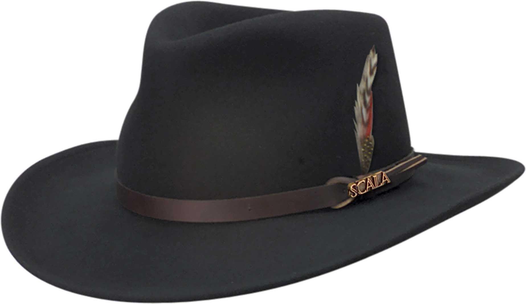 cd1ba51541100 Dorfman Pacific Scala Crushable Felt Outback Hat in Black for Men - Lyst