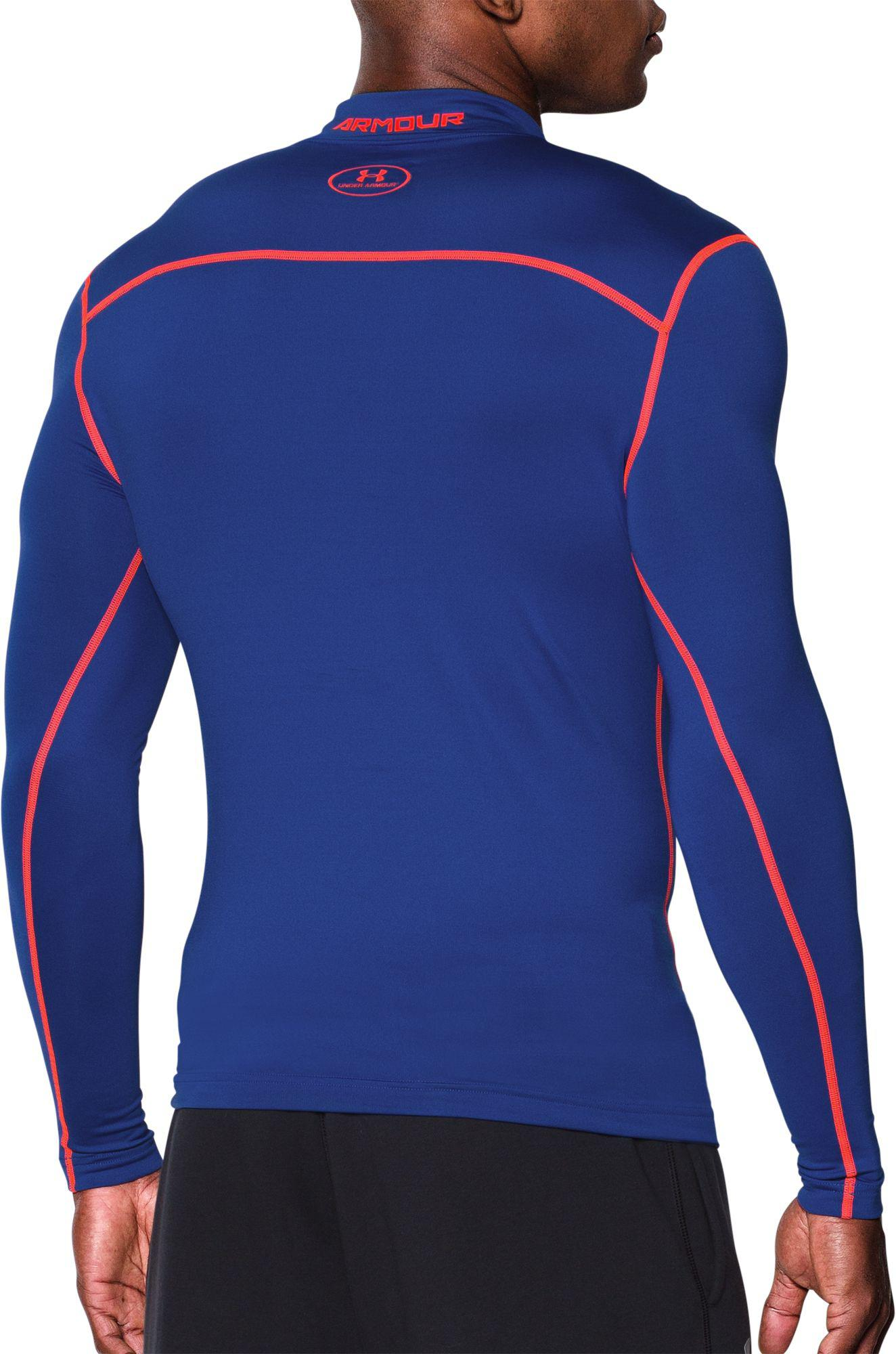 f53718670 Under Armour - Blue Coldgear Armour Compression Mock Neck Long Sleeve Shirt  for Men - Lyst