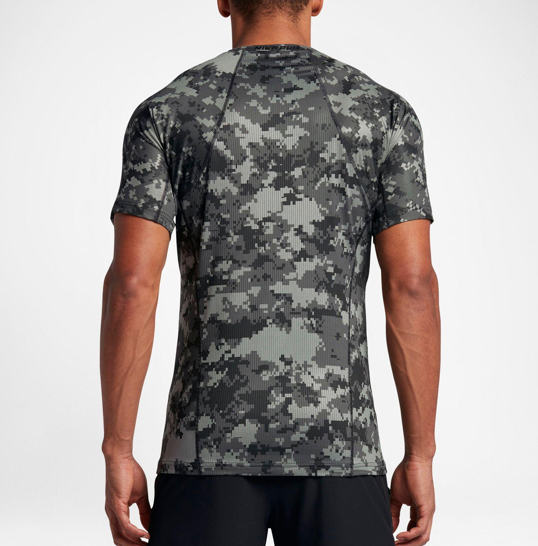 071c4b404 Nike Pro Hypercool Digi Camo Printed Fitted T-shirt in Black for Men ...