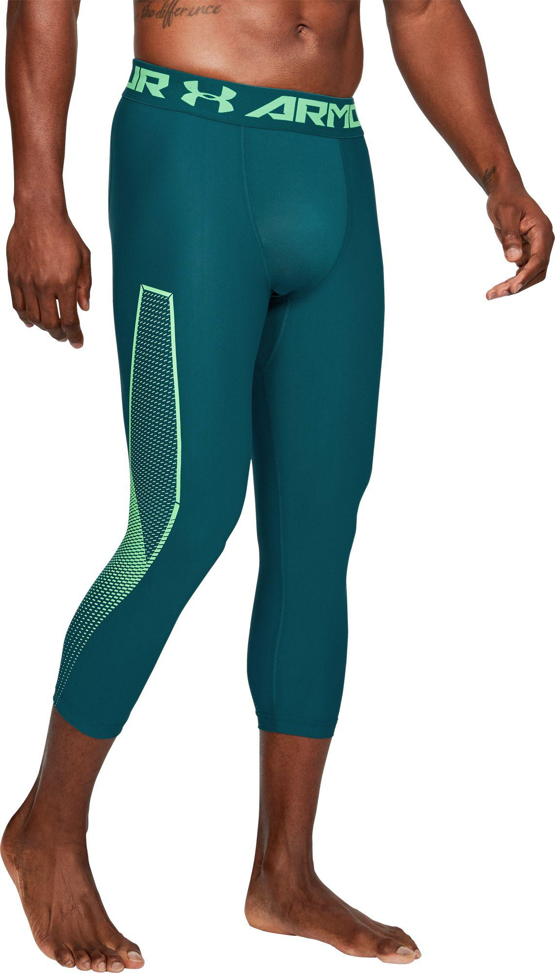 441de2af01acf6 Under Armour - Green Heatgear Armour Graphic 3/4 Length Tights for Men -  Lyst
