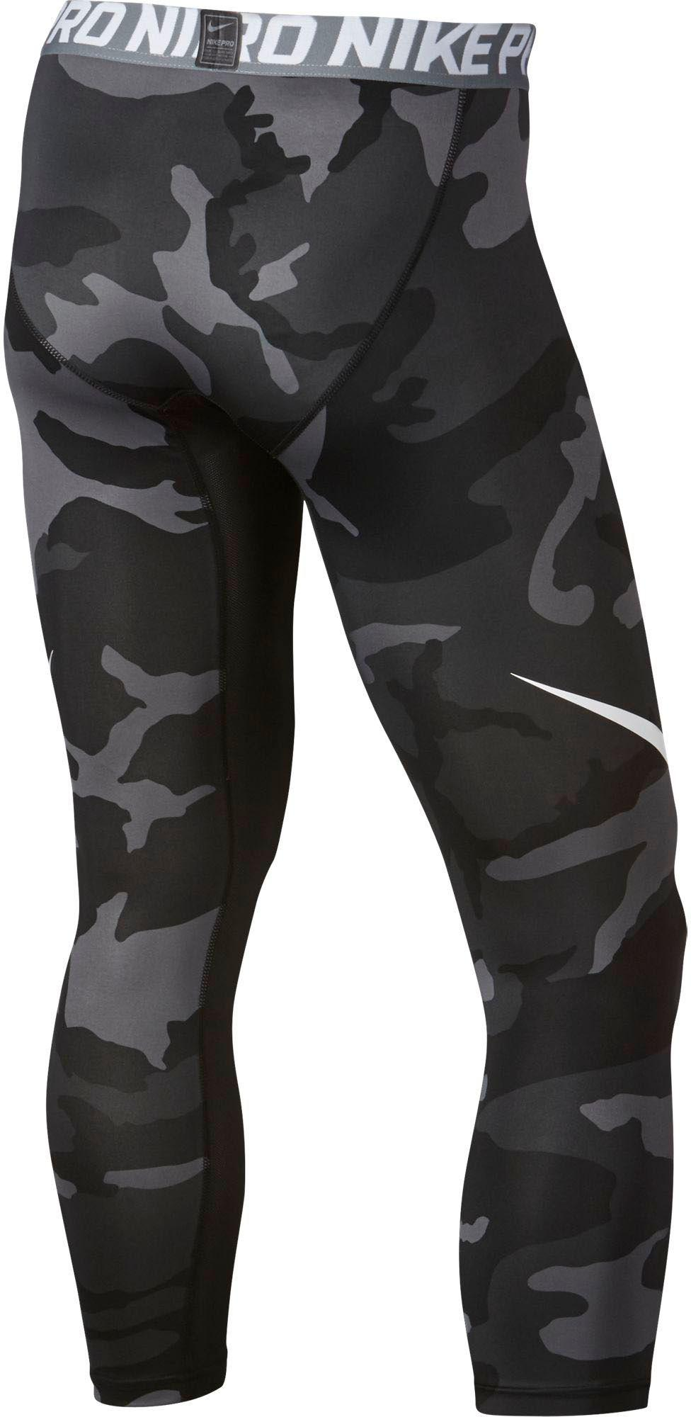 08b4a845fcbf3 Nike Pro Cool Camo Printed Quarter Length Football Tights in Black ...