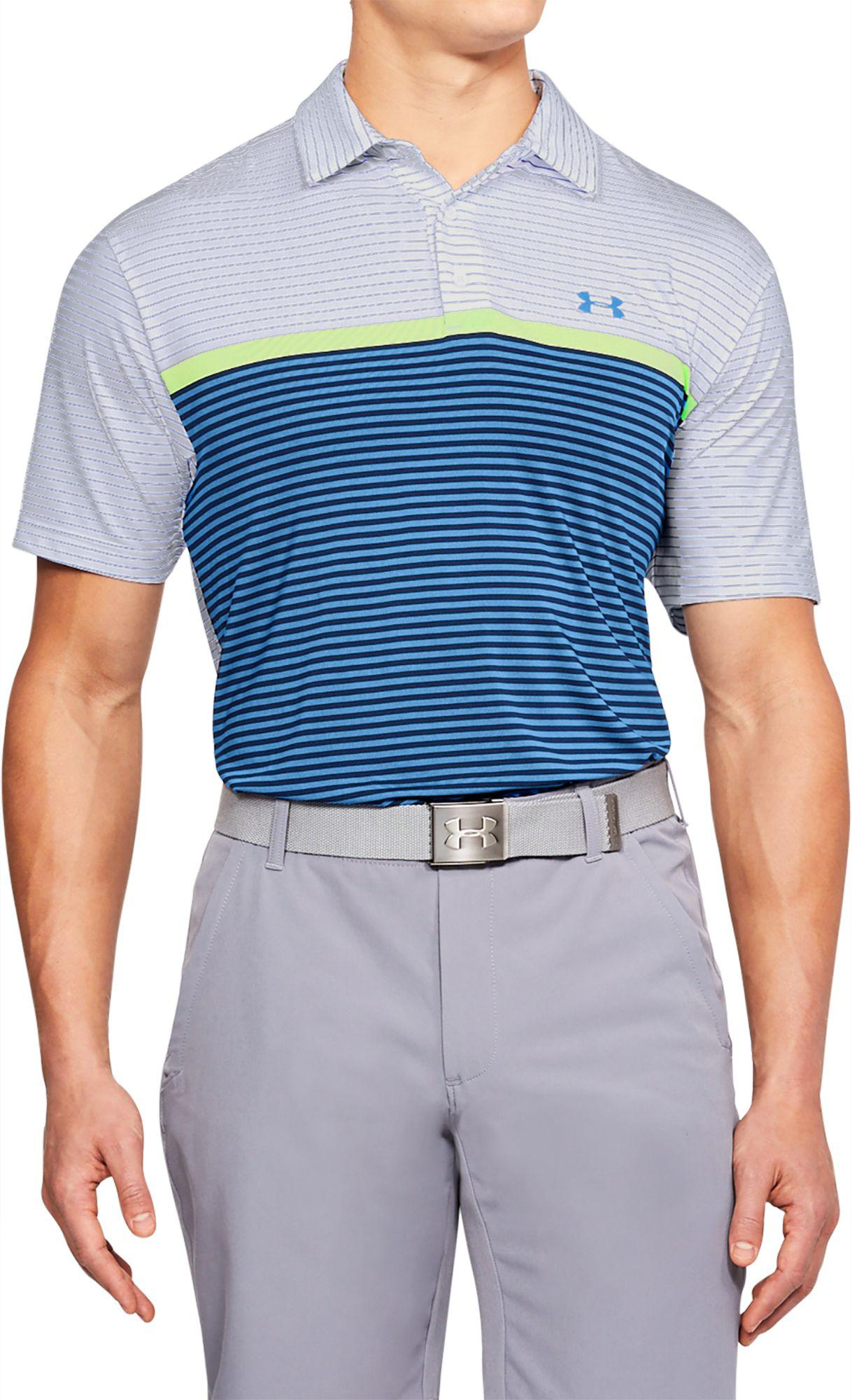 a700f248c6 Under Armour Playoff Super Stripe Golf Polo in Blue for Men - Lyst