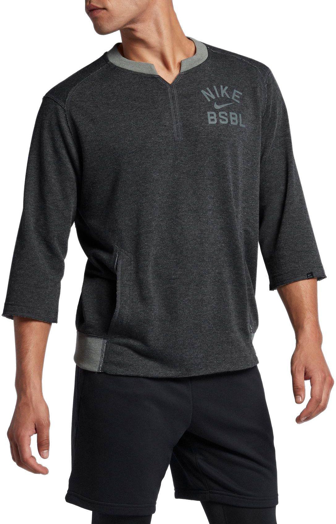 4ad1f7a95824c Nike - Gray 3 4 Fleece Crew Flux Baseball Shirt for Men - Lyst. View  fullscreen
