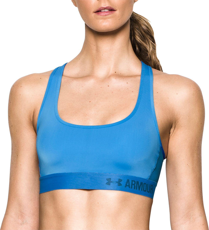 ac97045547 Lyst - Under Armour Heatgear Mid-impact Crossback Sports Bra in Blue