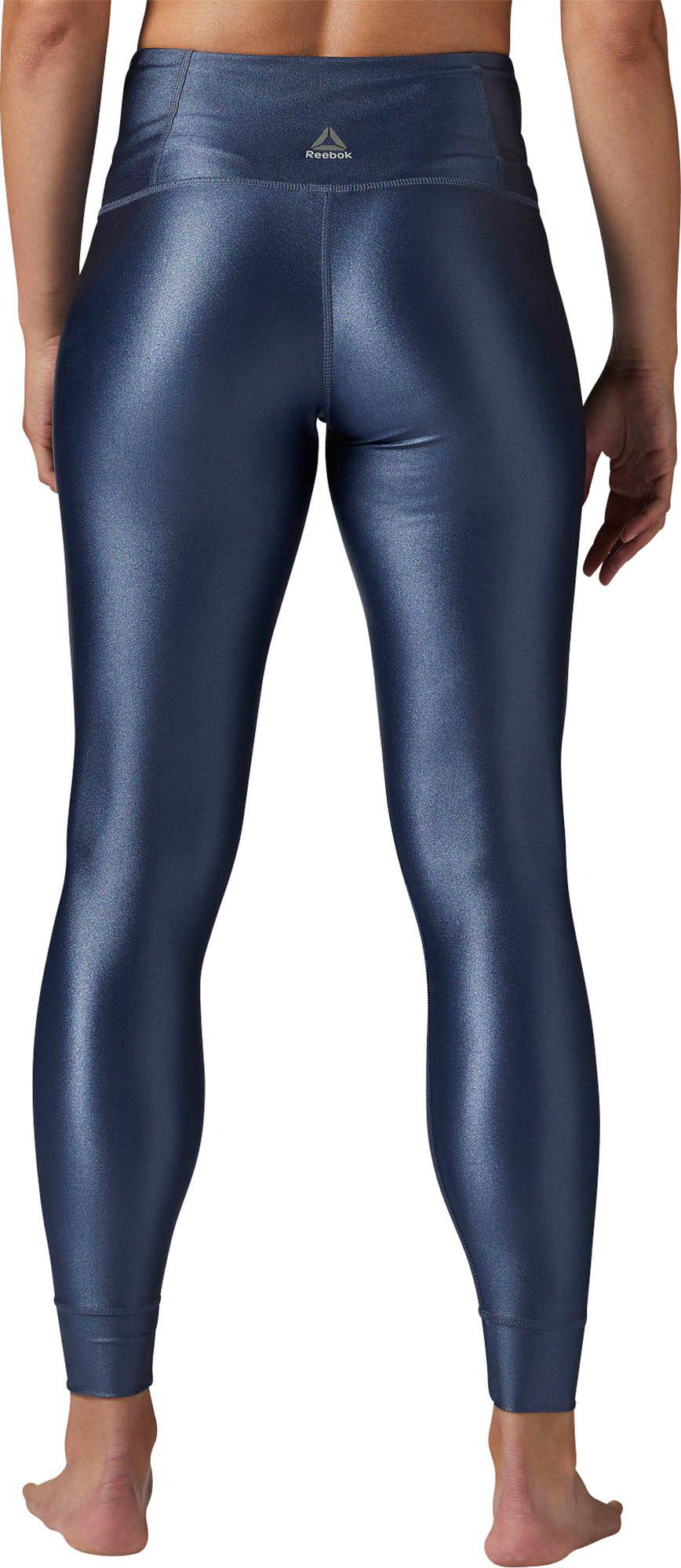 6f42c0608a4836 Reebok Metallic High Rise Leggings in Blue - Lyst
