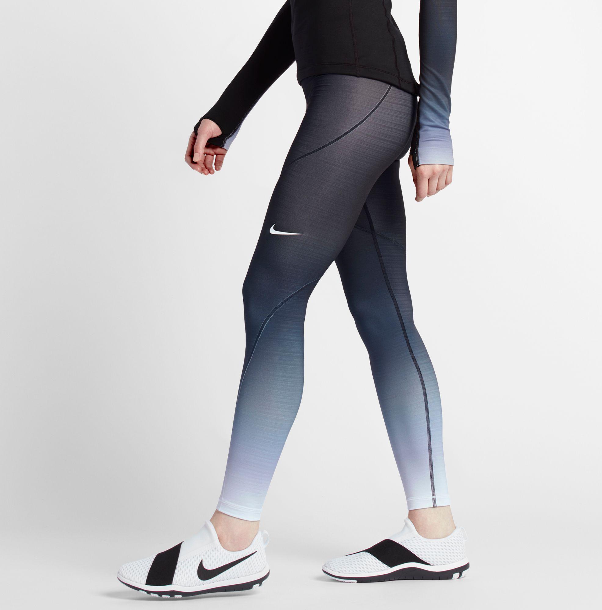 099649ccd7c89 Nike Pro Hyperwarm Fade Printed Tights in Black - Lyst