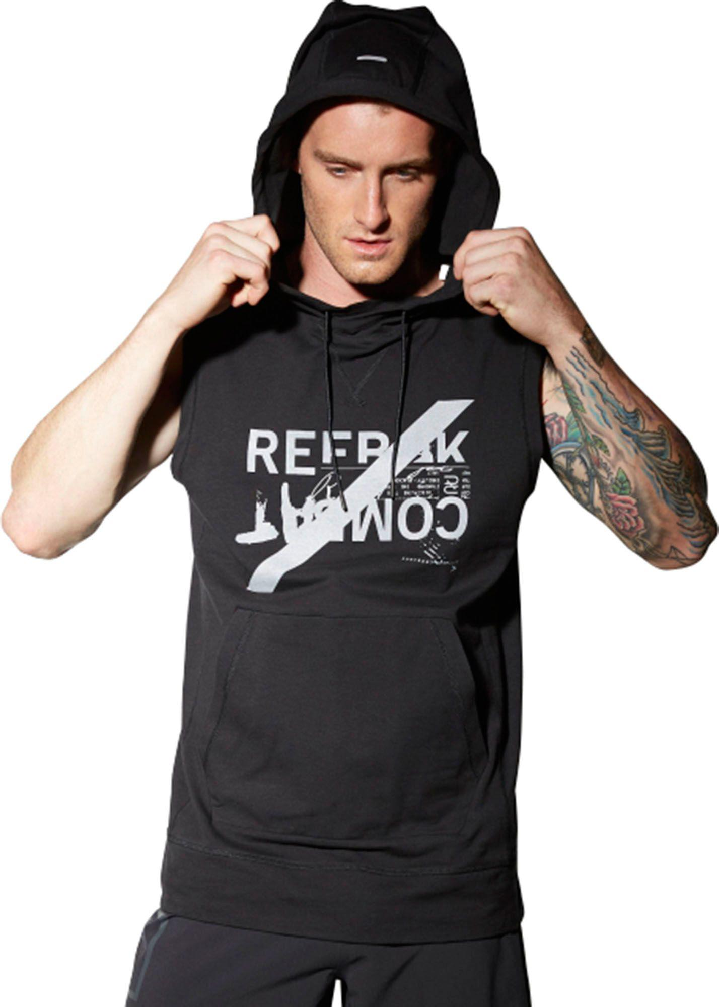 e13b0fd4ef7443 Lyst - Reebok Combat Sleeveless Hoodie in Black for Men