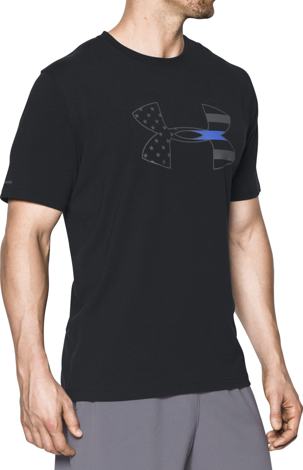 lyst under armour police thin blue line t shirt in black. Black Bedroom Furniture Sets. Home Design Ideas