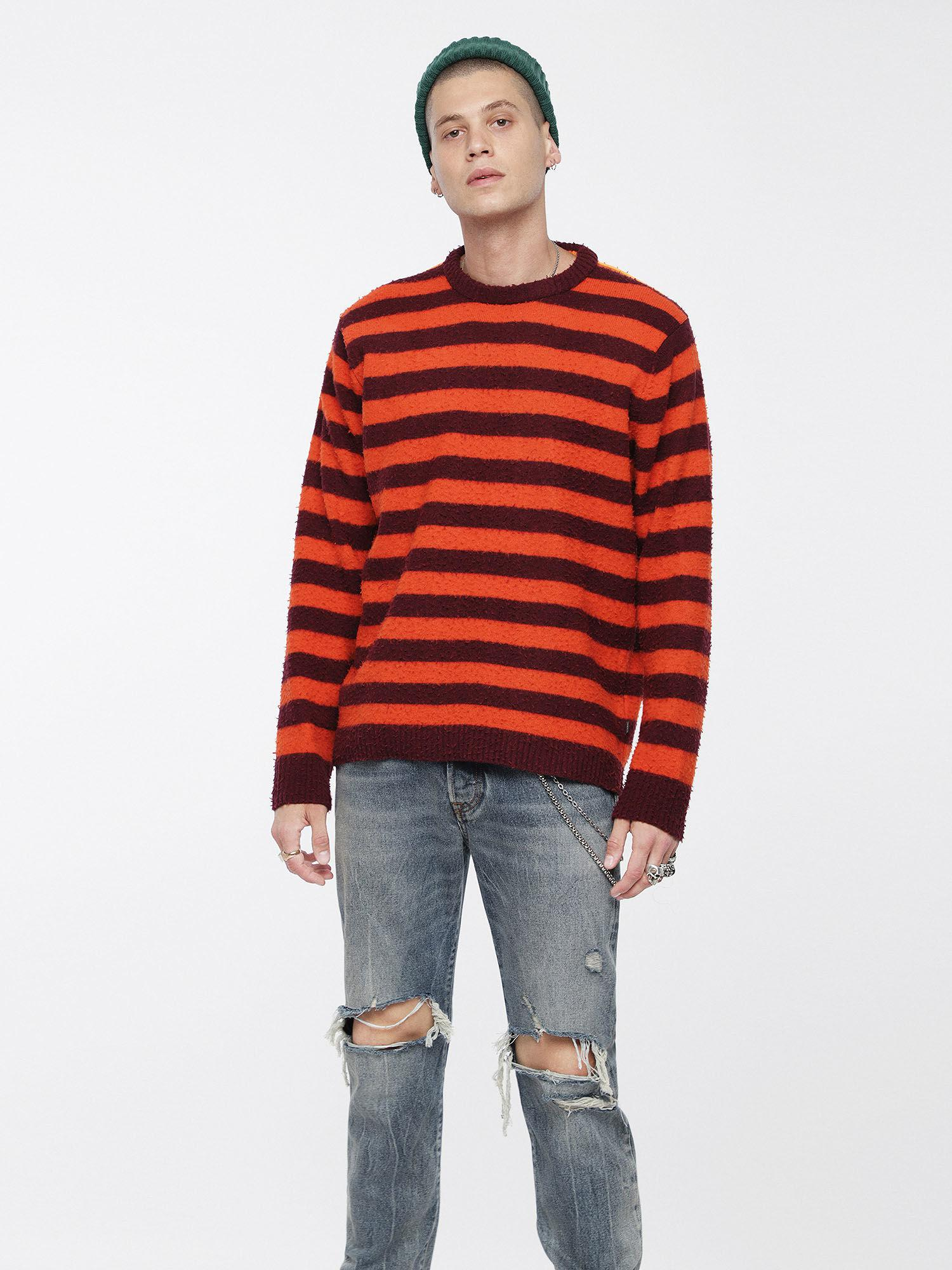 Lyst - Diesel Wool Blend Sweater With Pilled Effect in Orange for Men 9591039c651f