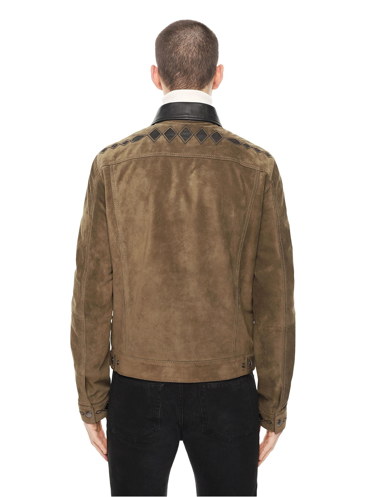 28433c38 Lyst - DIESEL Suede Jacket With Nappa Inlays in Green for Men