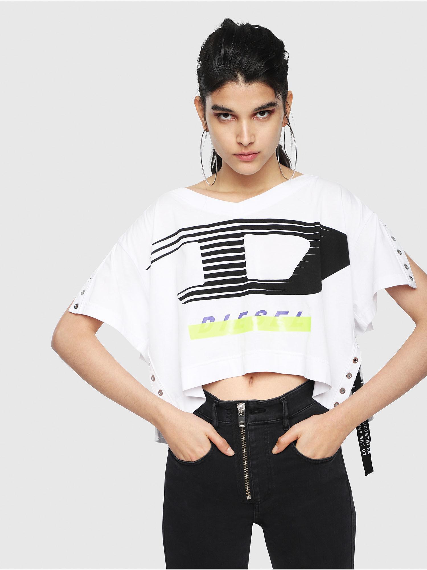 9e738365175c DIESEL - White Logo T-shirt With Eyelet Trims - Lyst. View fullscreen