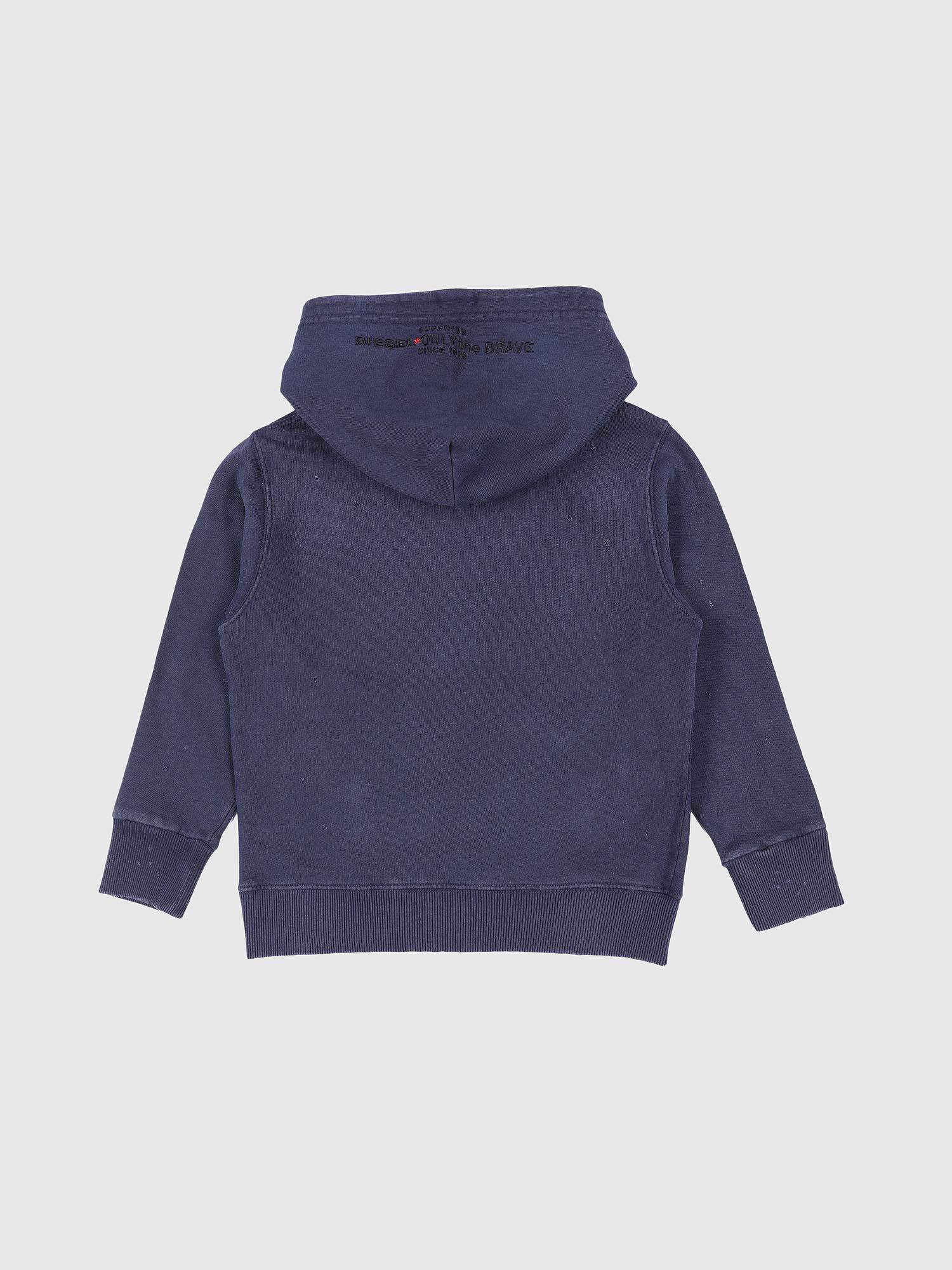 56034abff DIESEL - Blue Hooded Sweater Distressed And Faded for Men - Lyst. View  fullscreen