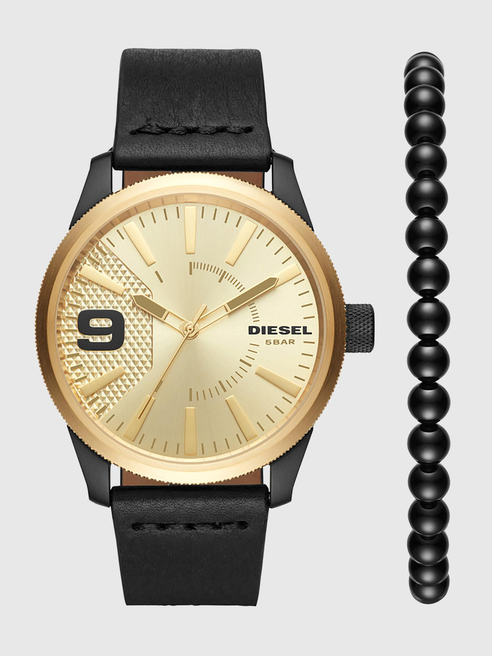 Lyst Diesel Gold Tone Leather Watch 46 Mm In Metallic For Men Fossil Jr1527 Nate 50mm Chronograph Black Dial Two Stainless Gallery