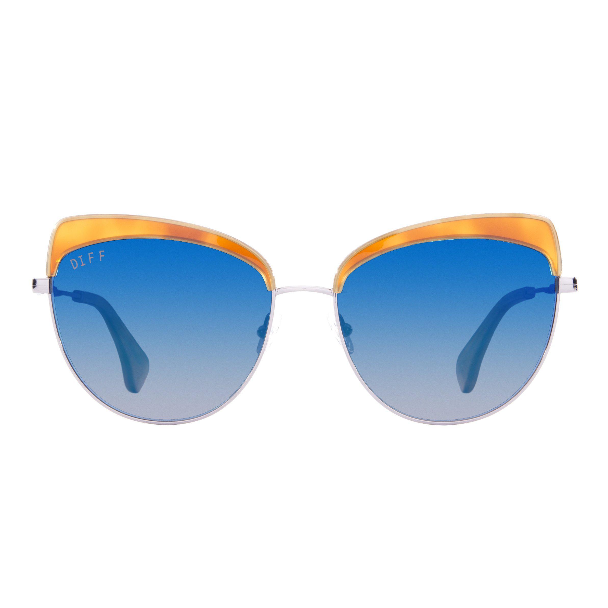 ebe2d2eff93 Lyst - DIFF Izzy - Honey Tortoise Light Gunmetal + Blue Flash + ...