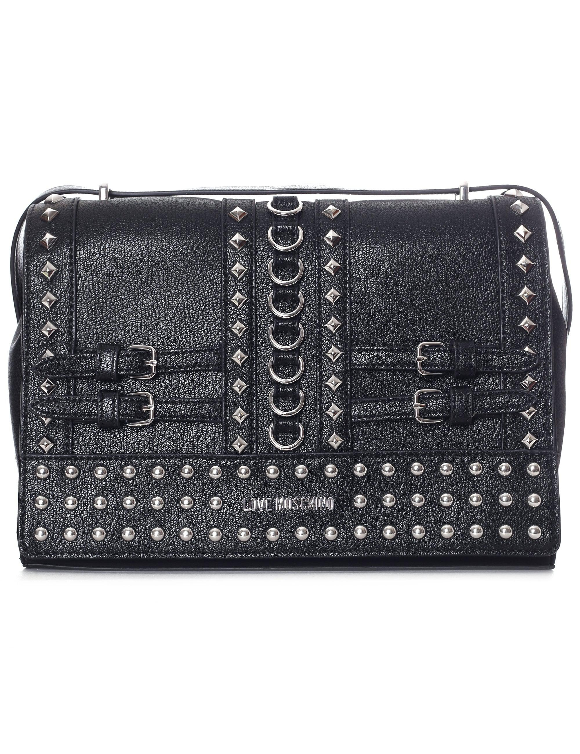 2e4be80985b Love Moschino Studded Shoulder Bag in Black - Lyst