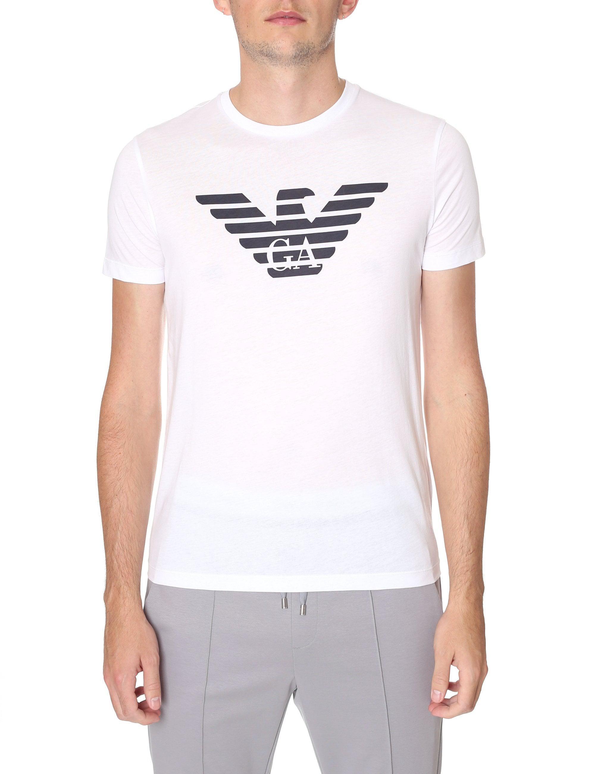 434f9e37 Emporio Armani Men's Eagle Logo Crew Neck Tee Optical White in White ...