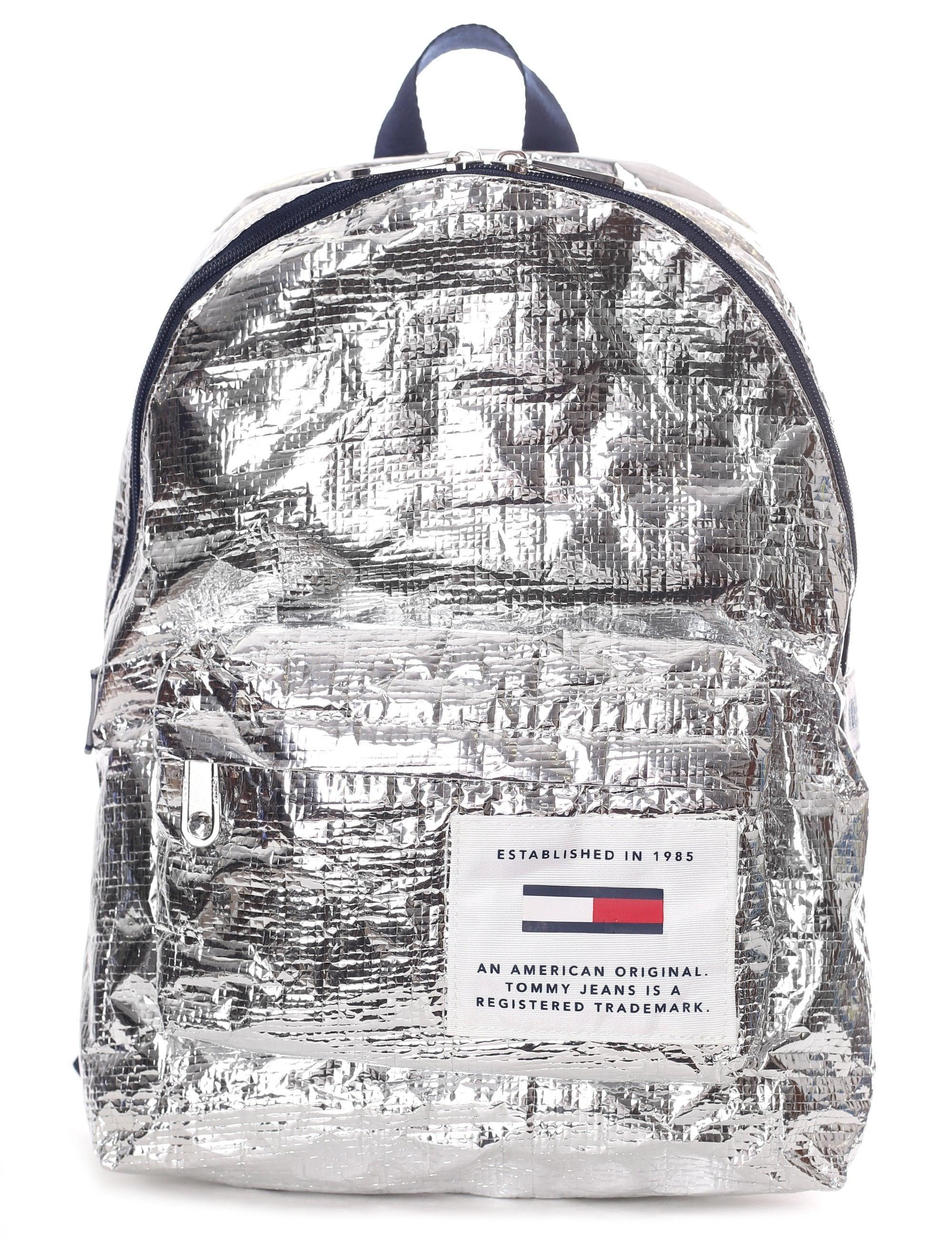 5a948f160441 Tommy Hilfiger Women s Tju Logo Tape Med Backpack Silver in Metallic ...