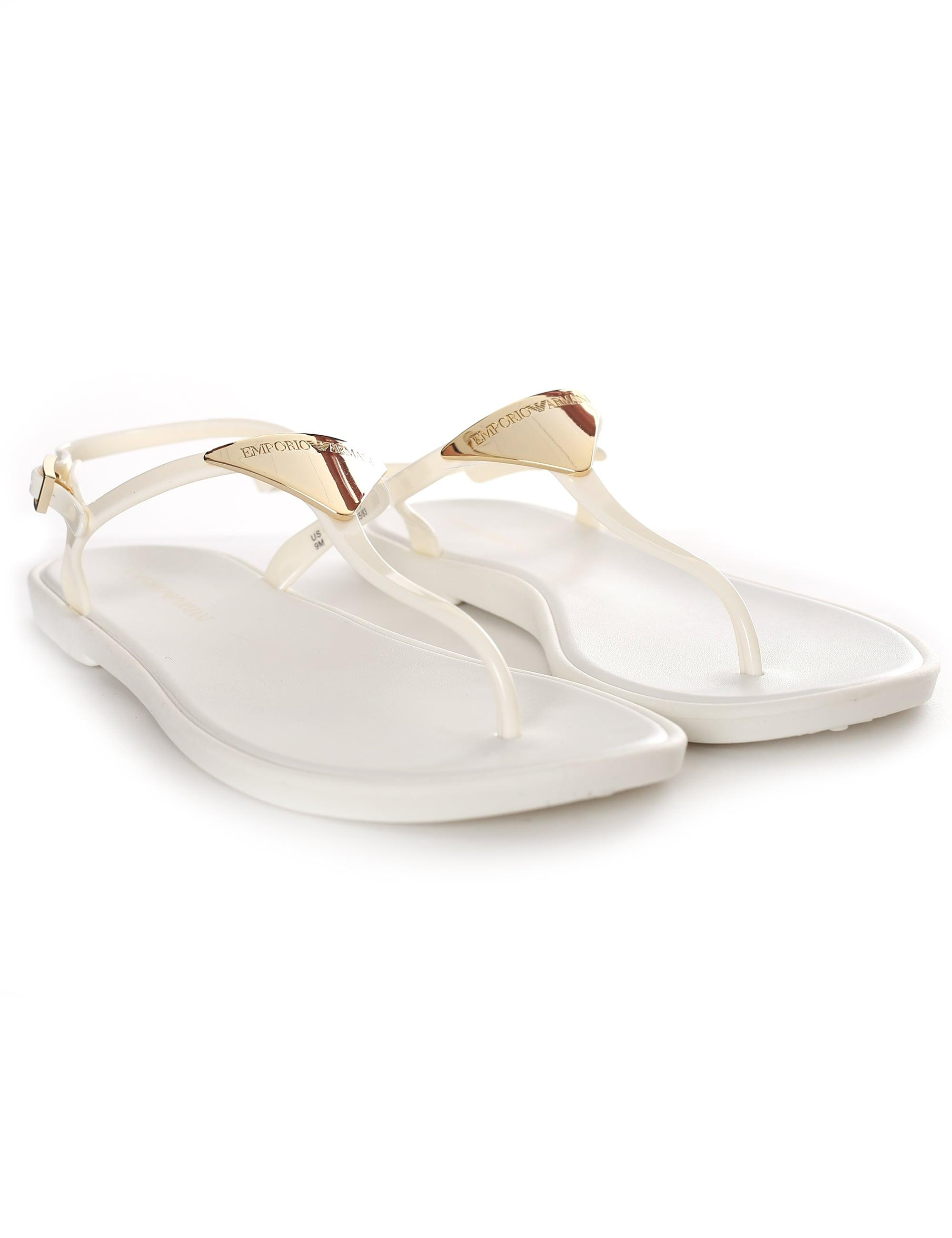 af09b5414cc3 Emporio Armani Gold Plaque Jelly Sandals in White - Lyst
