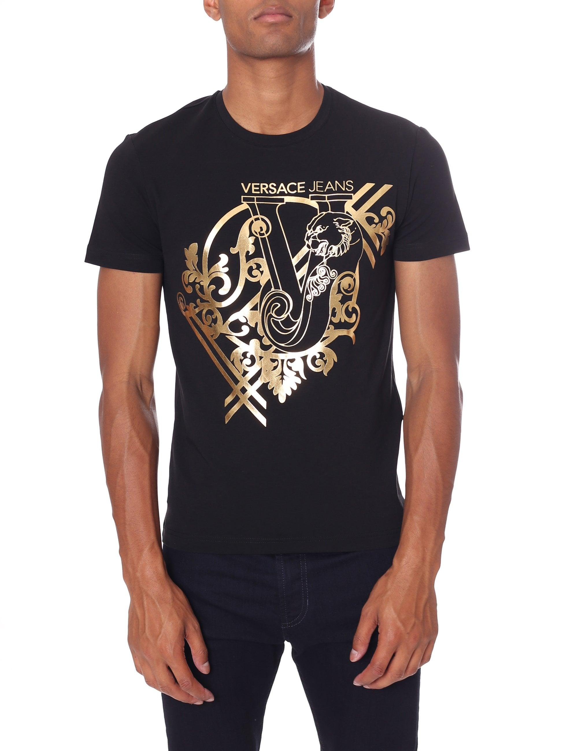 af678fcc Versace Jeans - Men's Baroque Foil Logo Tee Black for Men - Lyst. View  fullscreen