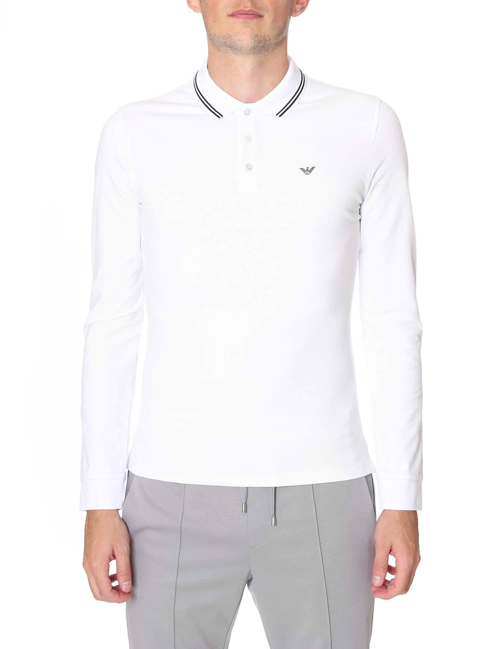 b197eac06675 Emporio Armani Slim Fit Long Sleeve Polo Top in White for Men - Lyst