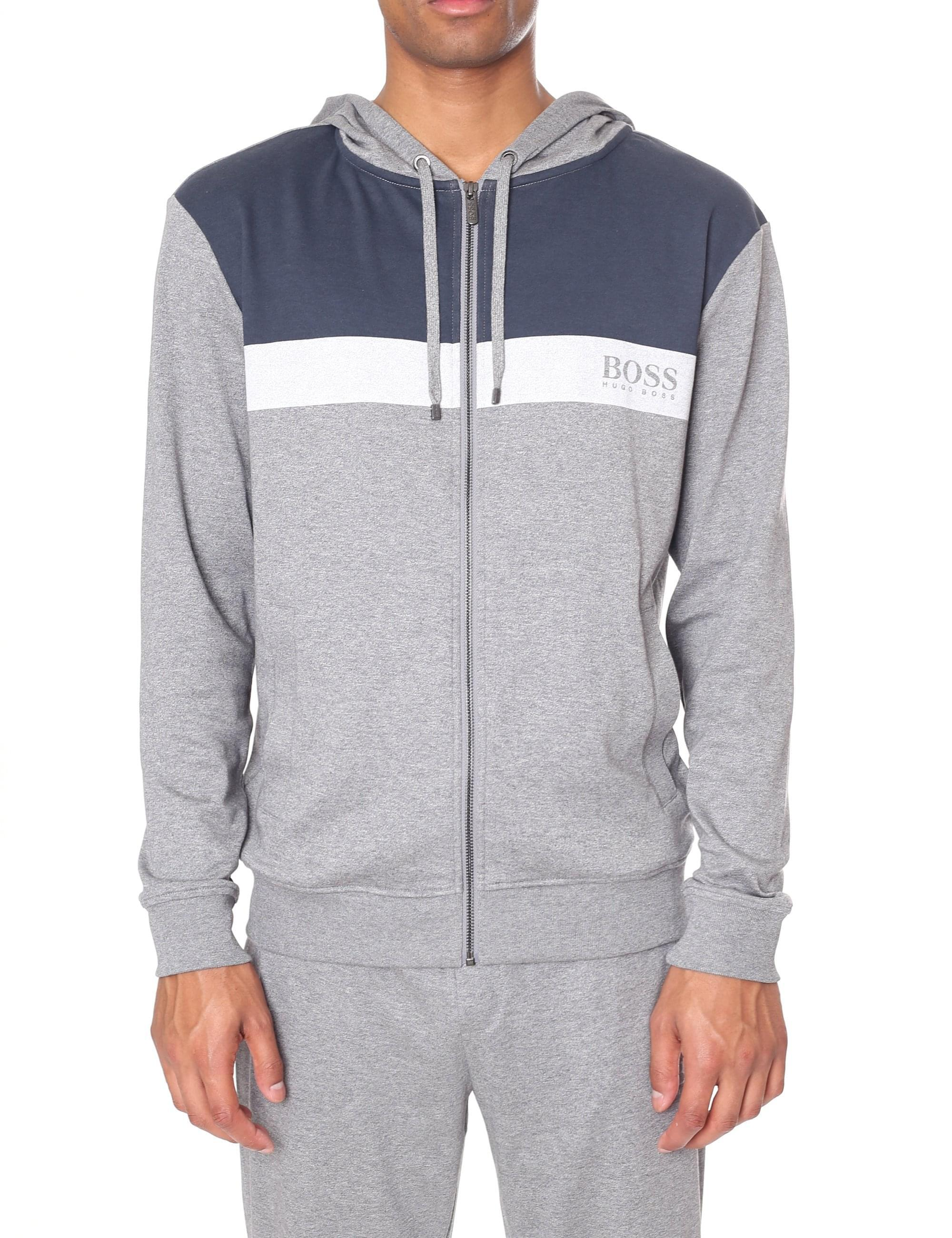 2f719337315 BOSS Zip Through Hooded Home Leisure Sweat Top in Gray for Men - Lyst
