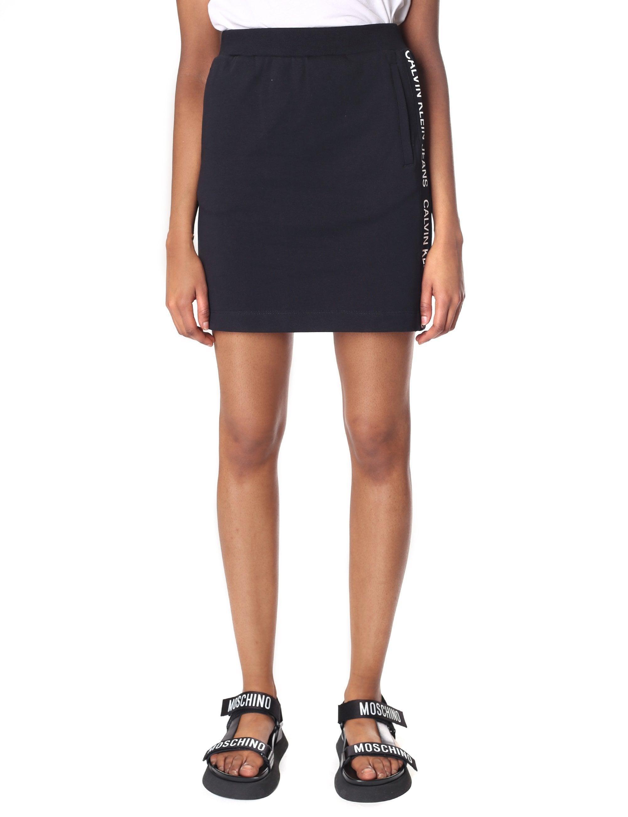 6ba472d677 Calvin Klein Women's Track Side Logo Skirt Ck Black in Black - Lyst