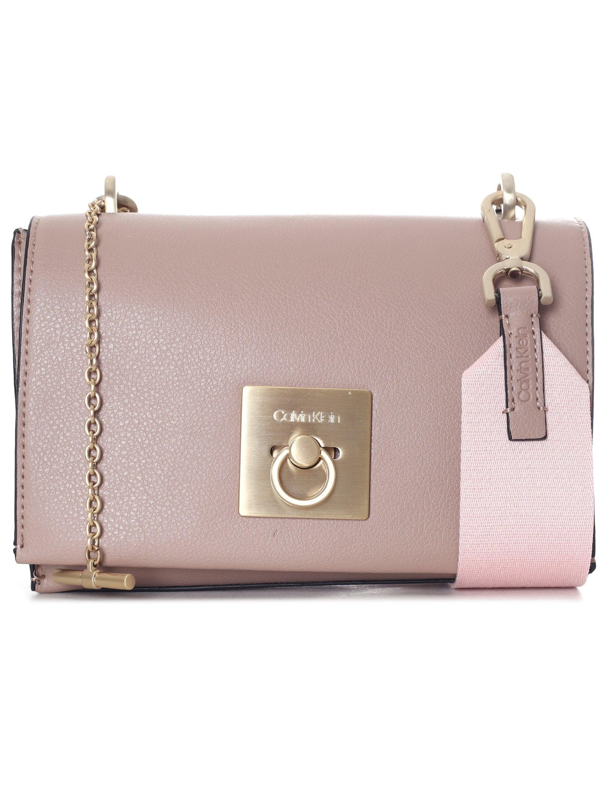 1c36ac83aec Calvin Klein Ck Lock Medium Flap Crossbody Bag in Brown - Lyst