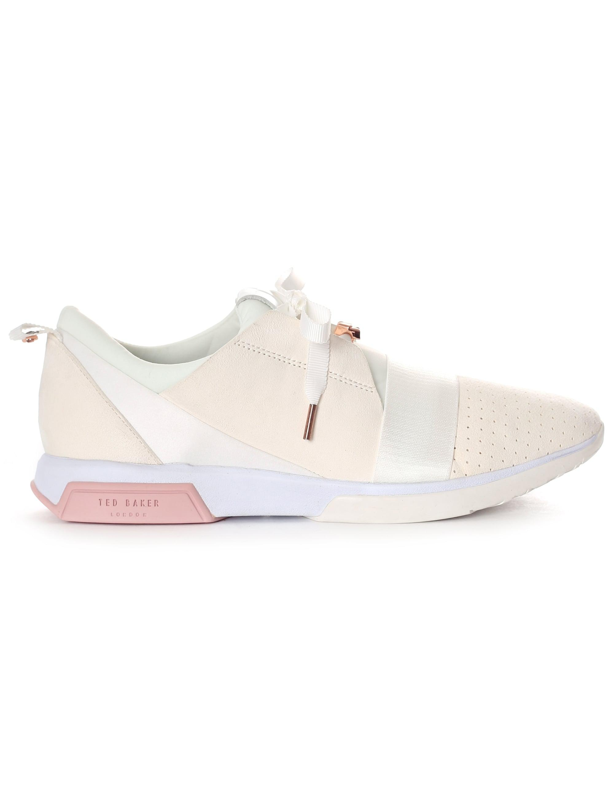 31dd64c48db1dc Ted Baker Cepas Strap Detail Suede Trim Trainers in White - Lyst