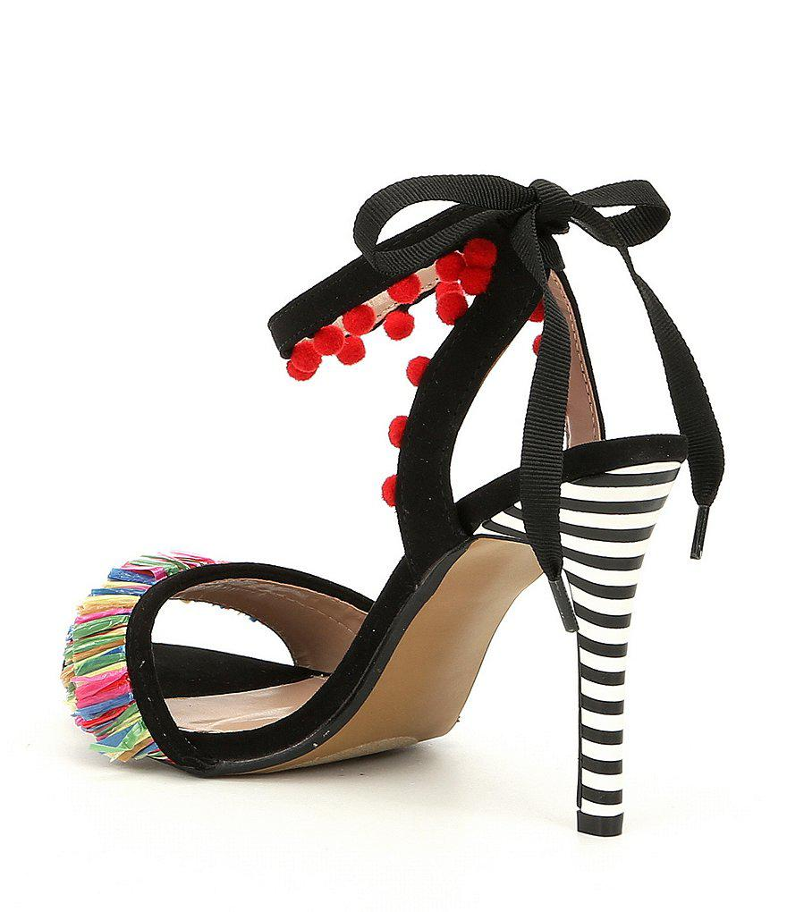 Rina Pom Pom and Raffia Fringe Striped Heel Sandals xqAdS2xjHL
