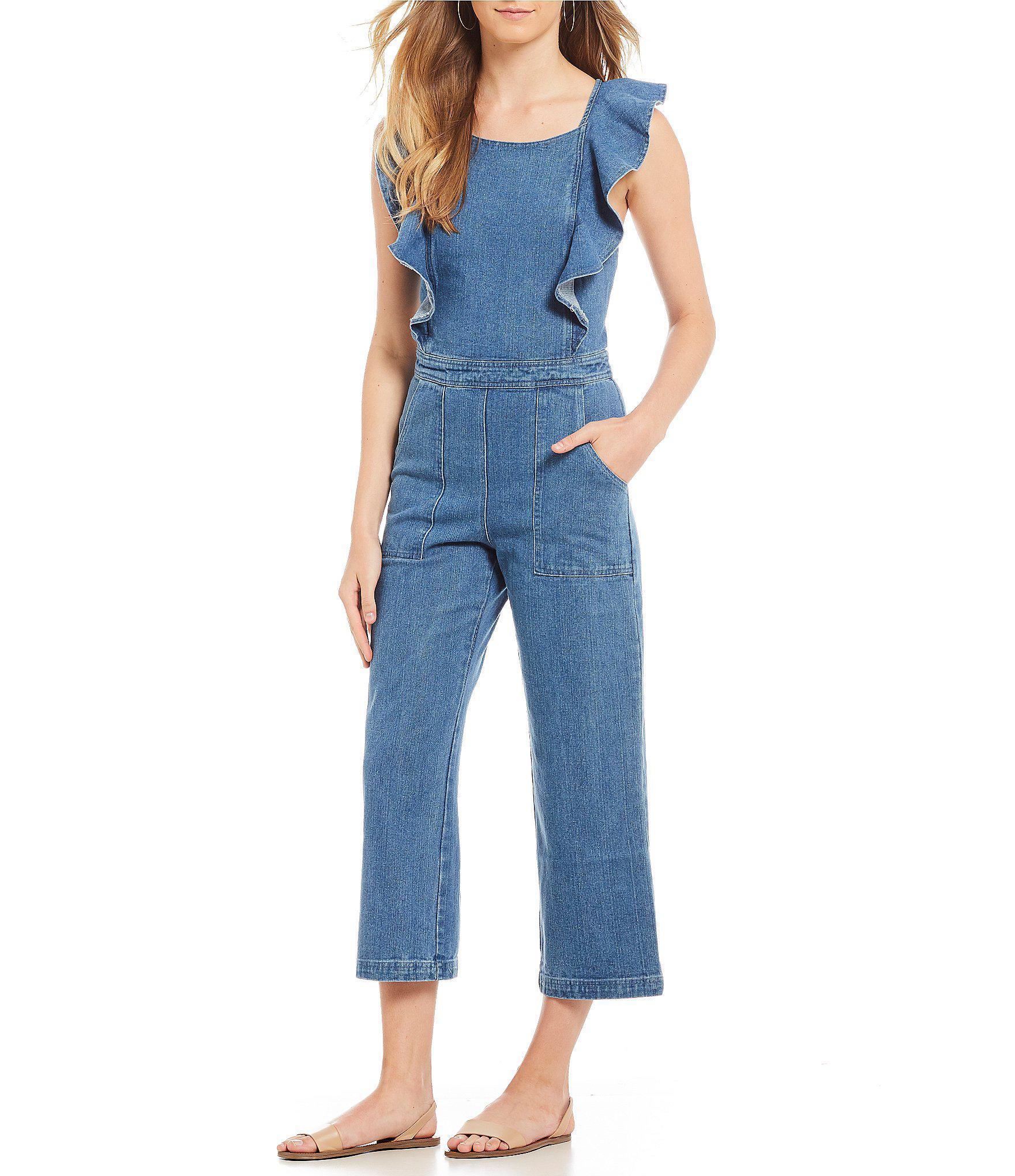76658aee5b9 Lyst - Sugarlips Denim Open Back Ruffle Jumpsuit in Blue