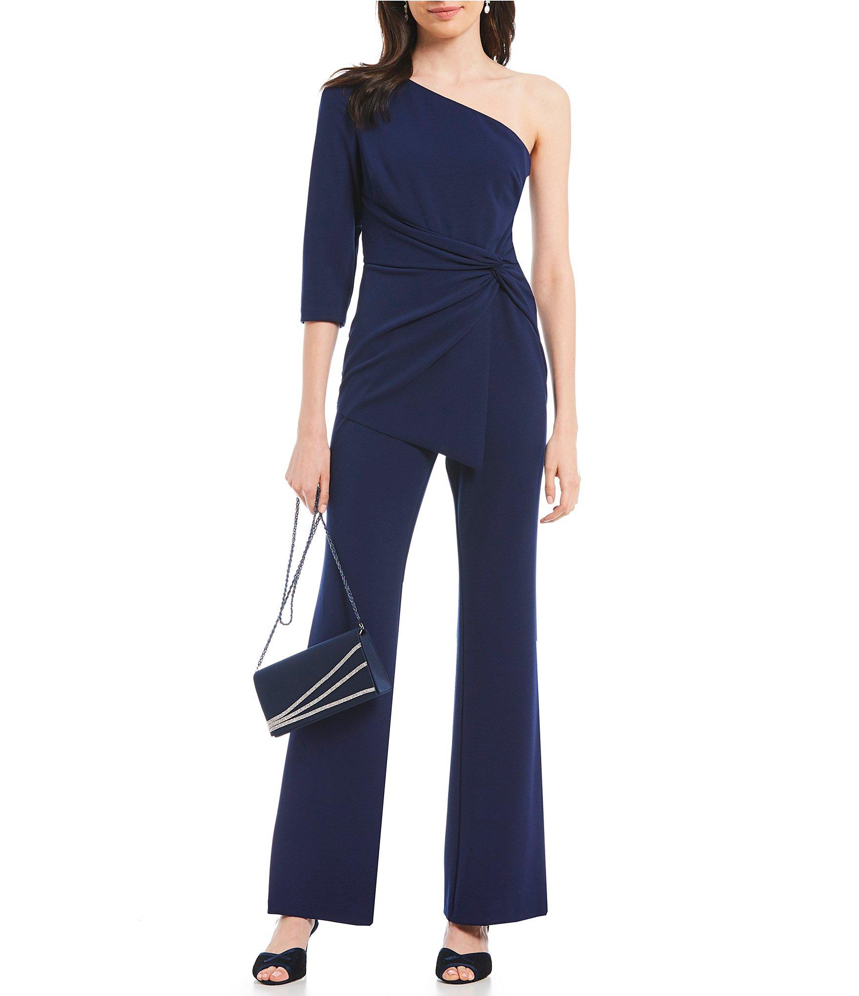 63325d68f1e Lyst - Adrianna Papell One Shoulder Knot Waist Jumpsuit in Blue
