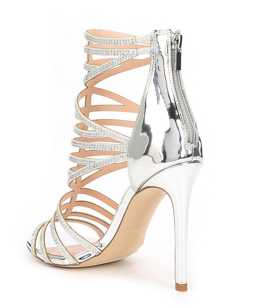 Fabricadiroma Caged Rhinestone Jeweled Dress Sandals Kle30KXm