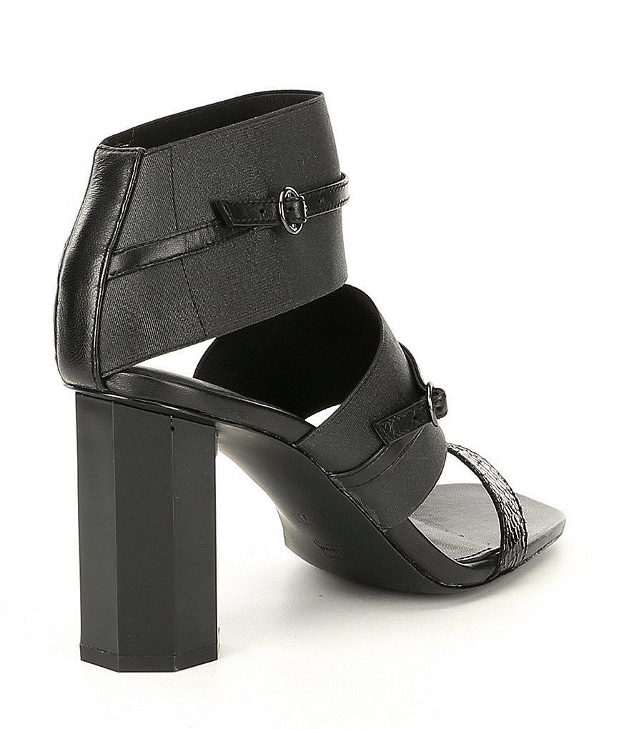 Donald Pliner Edie Metallic Elastic Block Heel Sandals Hemct