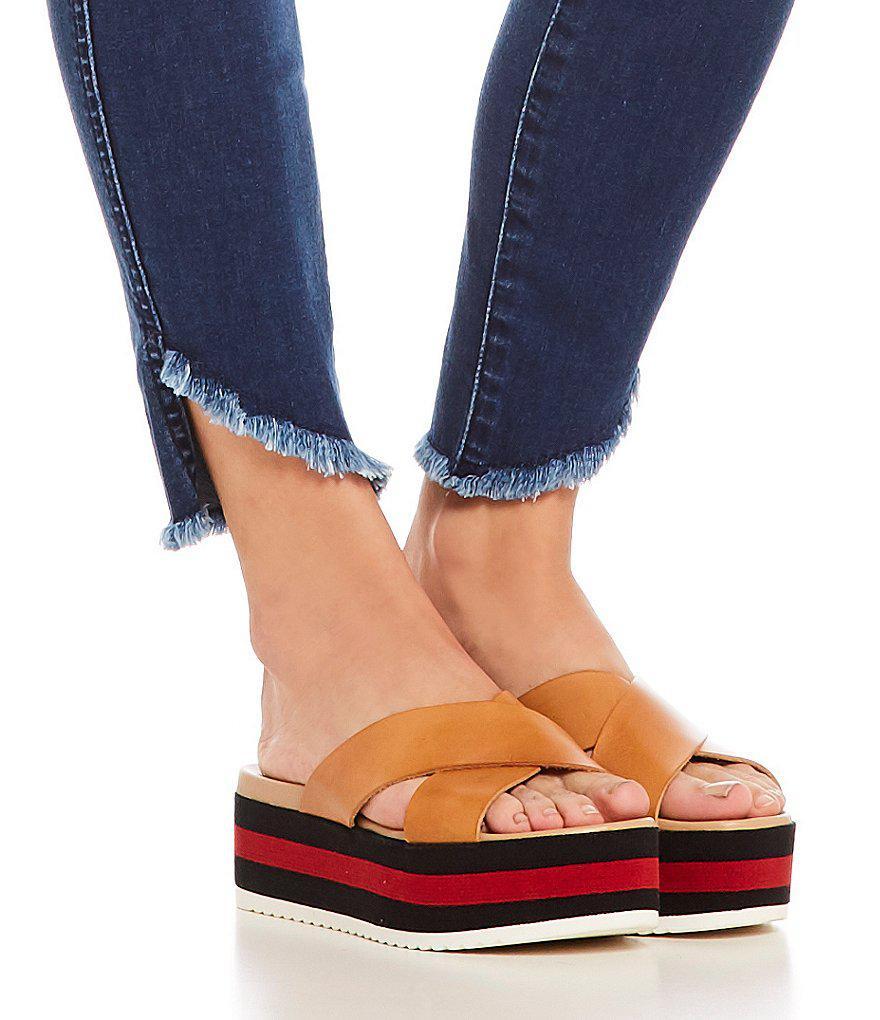 1dd98e11b2a Lyst - Steve Madden Asher Leather Banded Striped Platform Sandals