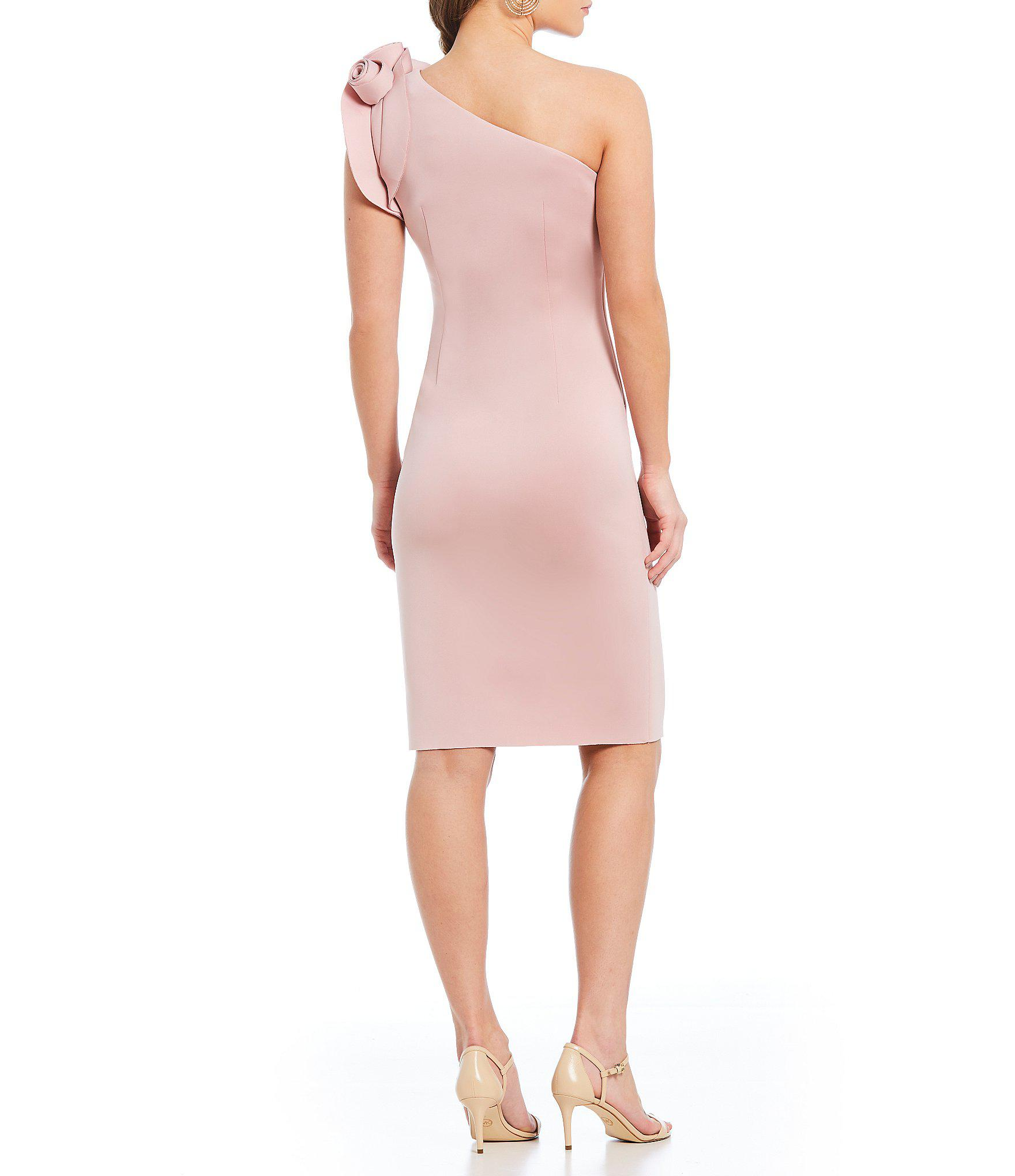 240b4a5a Eliza J - Pink One Shoulder Ruffle Sleeve Sheath Dress - Lyst. View  fullscreen